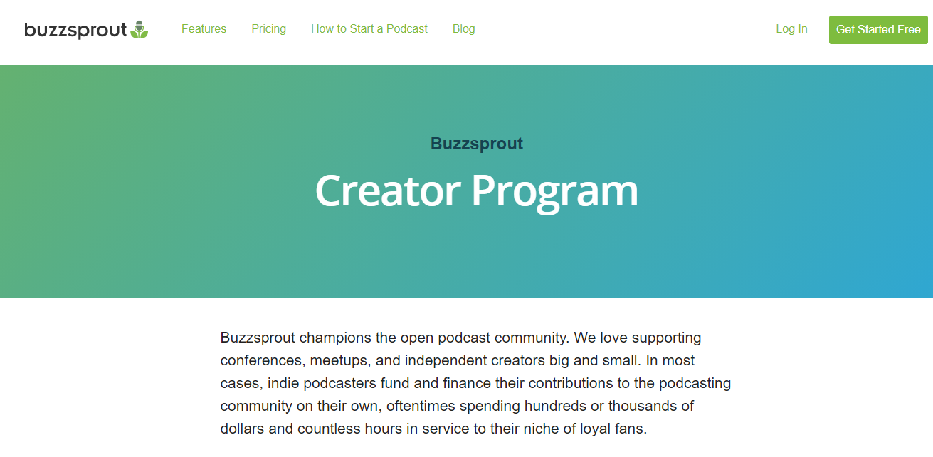 Buzzsprout Creator Program