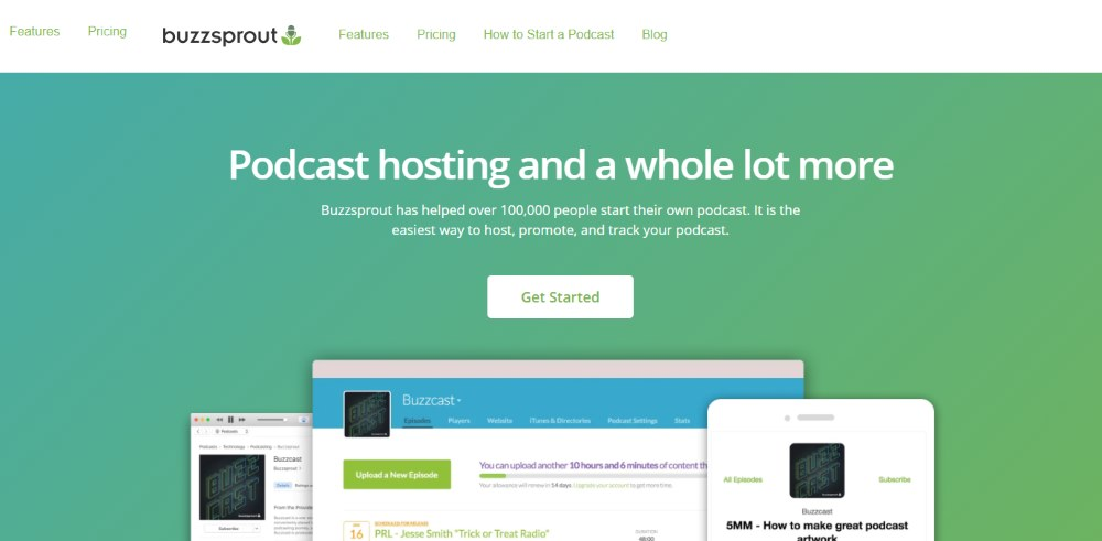 Image of the Buzzsprout podcasting website home page