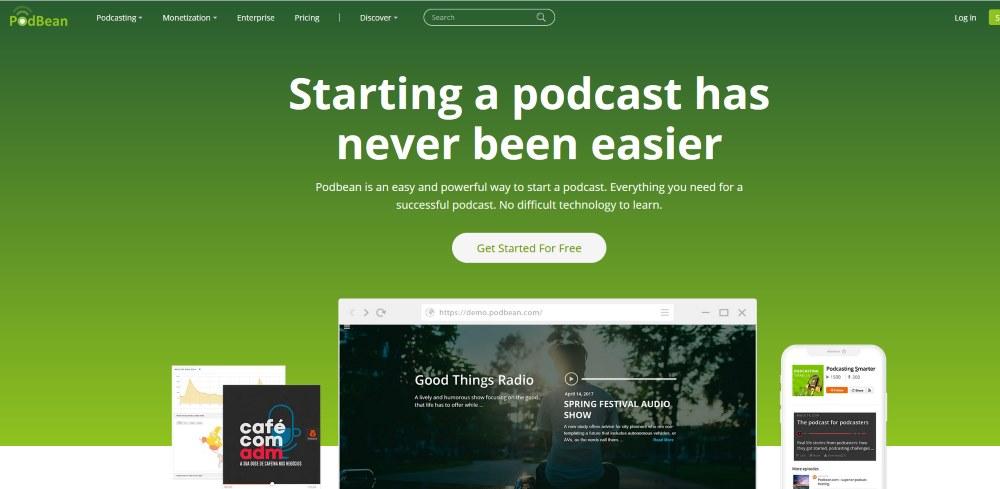 Image of the PodBean website