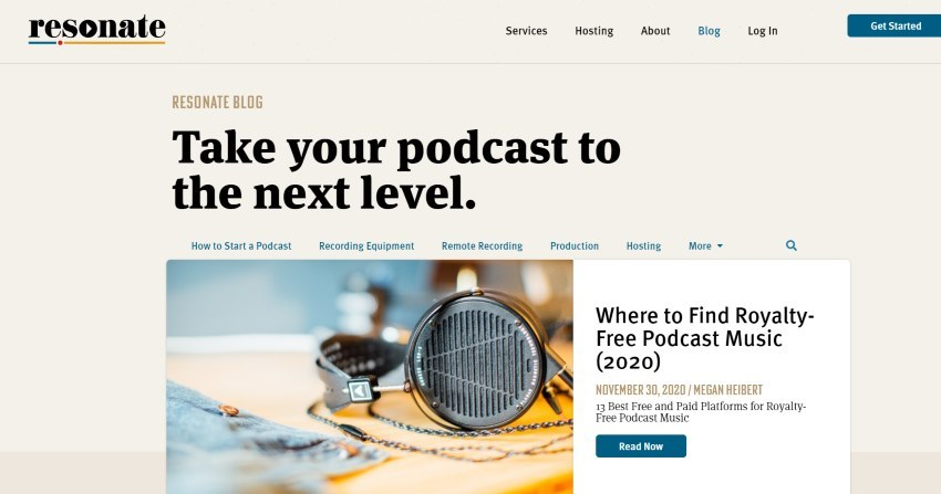Image of the Resonate Recording Blog of free podcasting resources