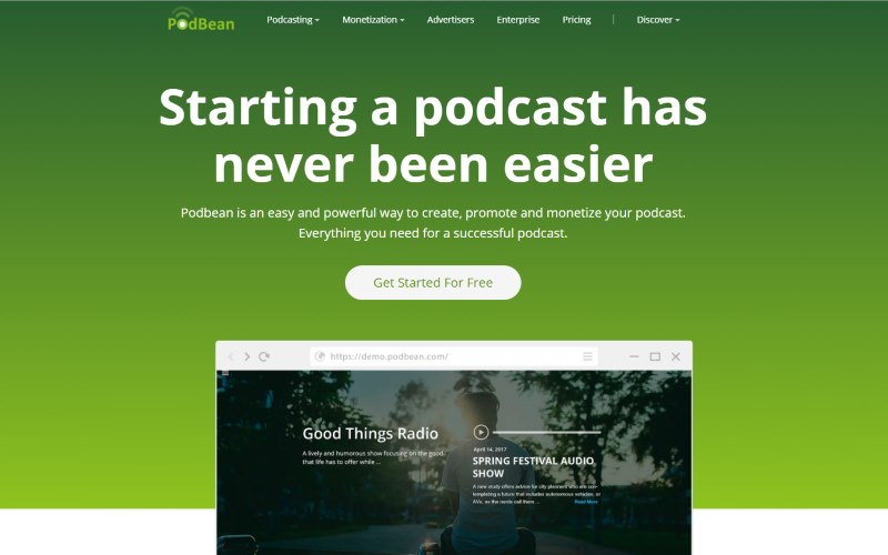 Image of the Podbean website
