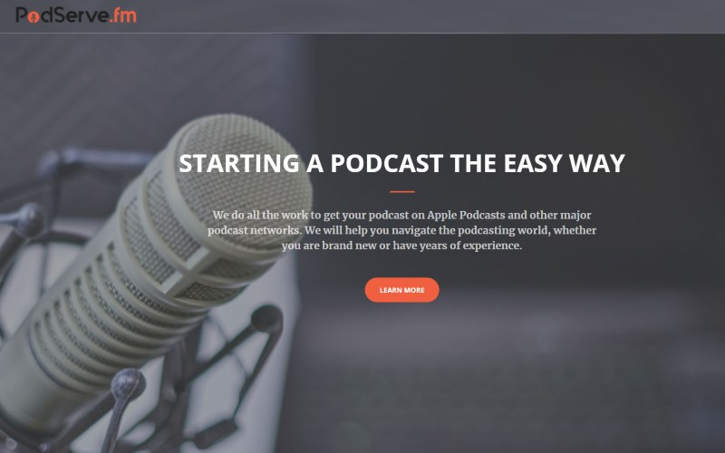Image of the PodServe website with the statement that says staring a podcast the easy way