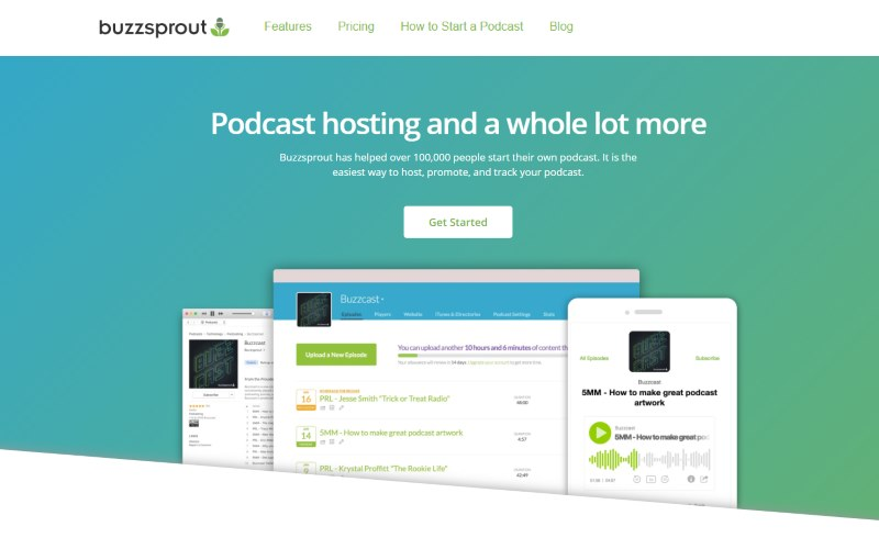 Image of the homepage of the Buzzsprout podcast hosting platform