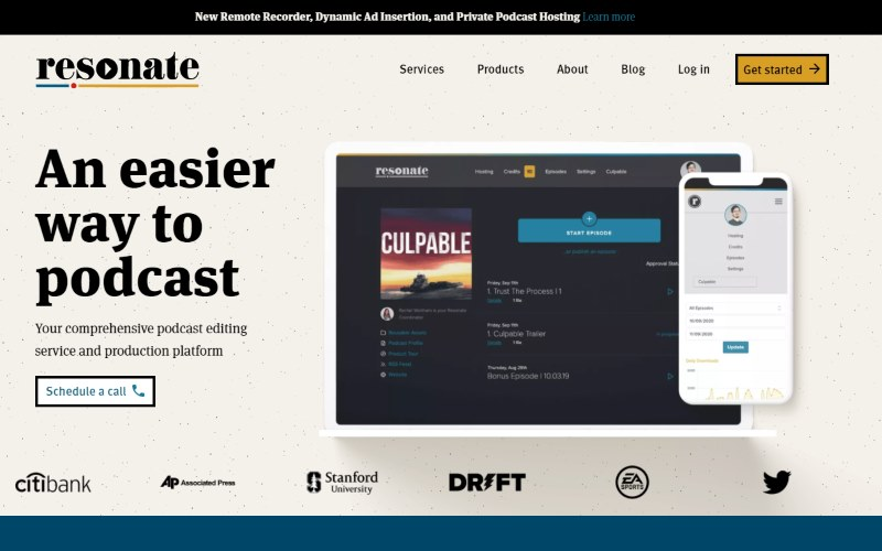 Image of the Resonate Recordings website